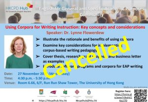 Using corpora for writing instruction: Key concepts and considerations - English for General and Specific Academic Purposes Community seminar @ Room 6.66, 6/F, Run Run Shaw Tower, The University of Hong Kong